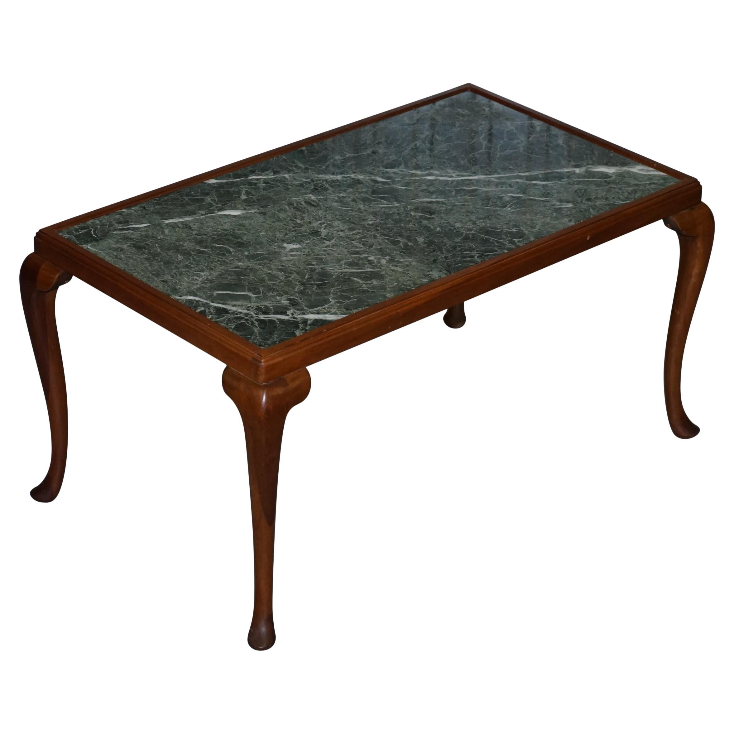 Lovely Vintage Walnut Framed with Solid Marble-Top Coffee or Cocktail Table