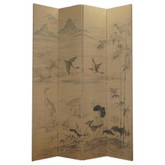 Lovely Vintage Water Color Hand Painted on Fabric Chinese Folding Room Divider