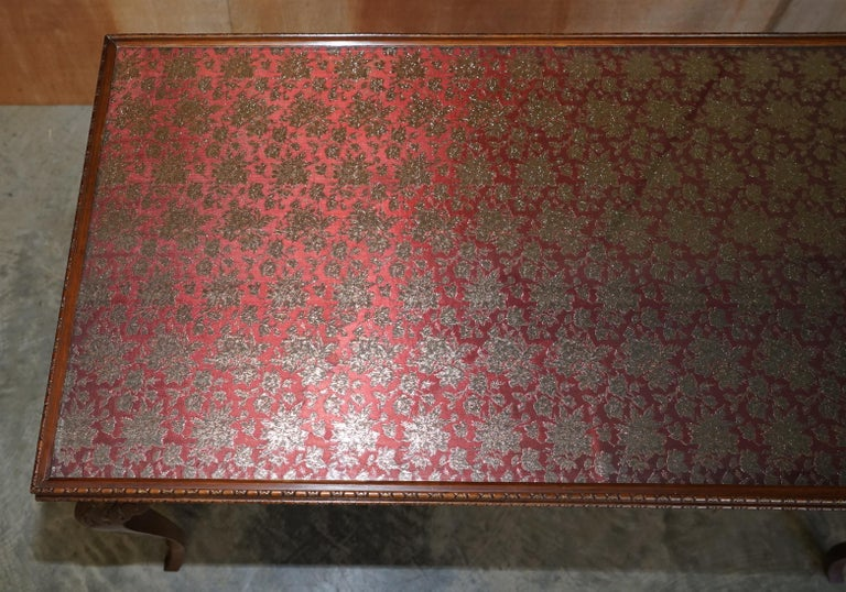 Lovely Vintage Writing Table Desk in Mahogany with Silk Embroidered Glass Top For Sale 3