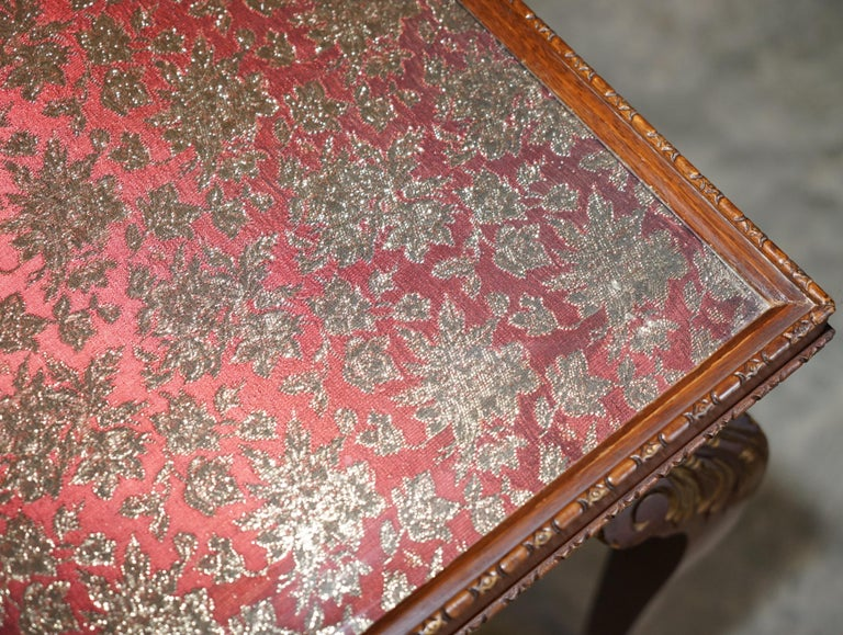 Lovely Vintage Writing Table Desk in Mahogany with Silk Embroidered Glass Top For Sale 5