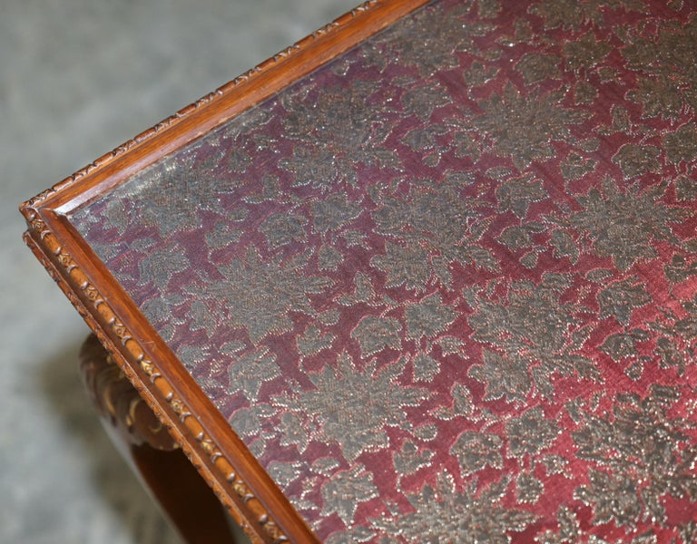Lovely Vintage Writing Table Desk in Mahogany with Silk Embroidered Glass Top For Sale 7