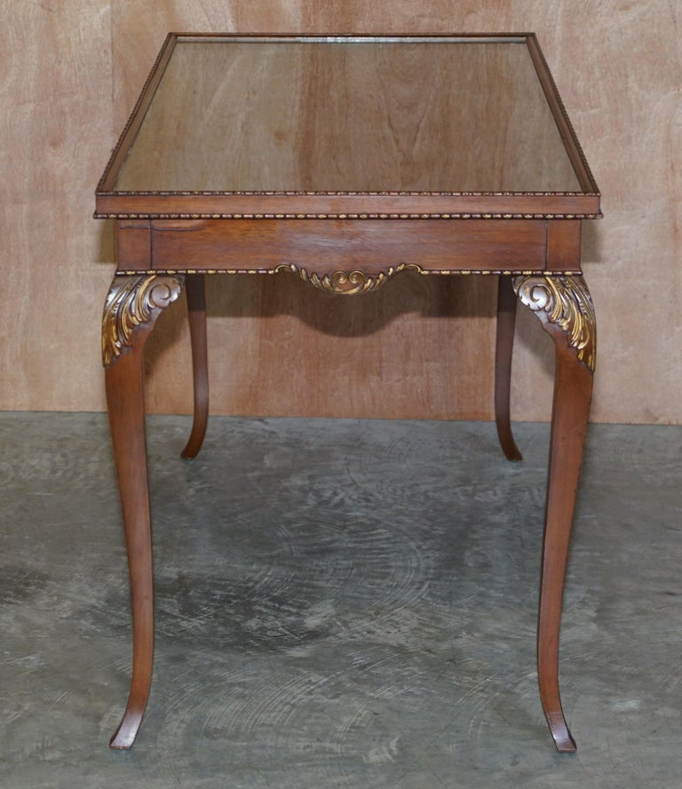 Lovely Vintage Writing Table Desk in Mahogany with Silk Embroidered Glass Top For Sale 8