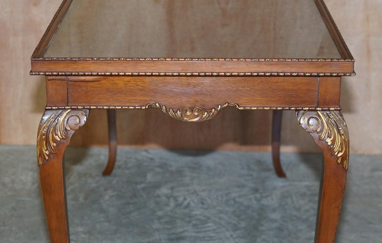 Lovely Vintage Writing Table Desk in Mahogany with Silk Embroidered Glass Top For Sale 9