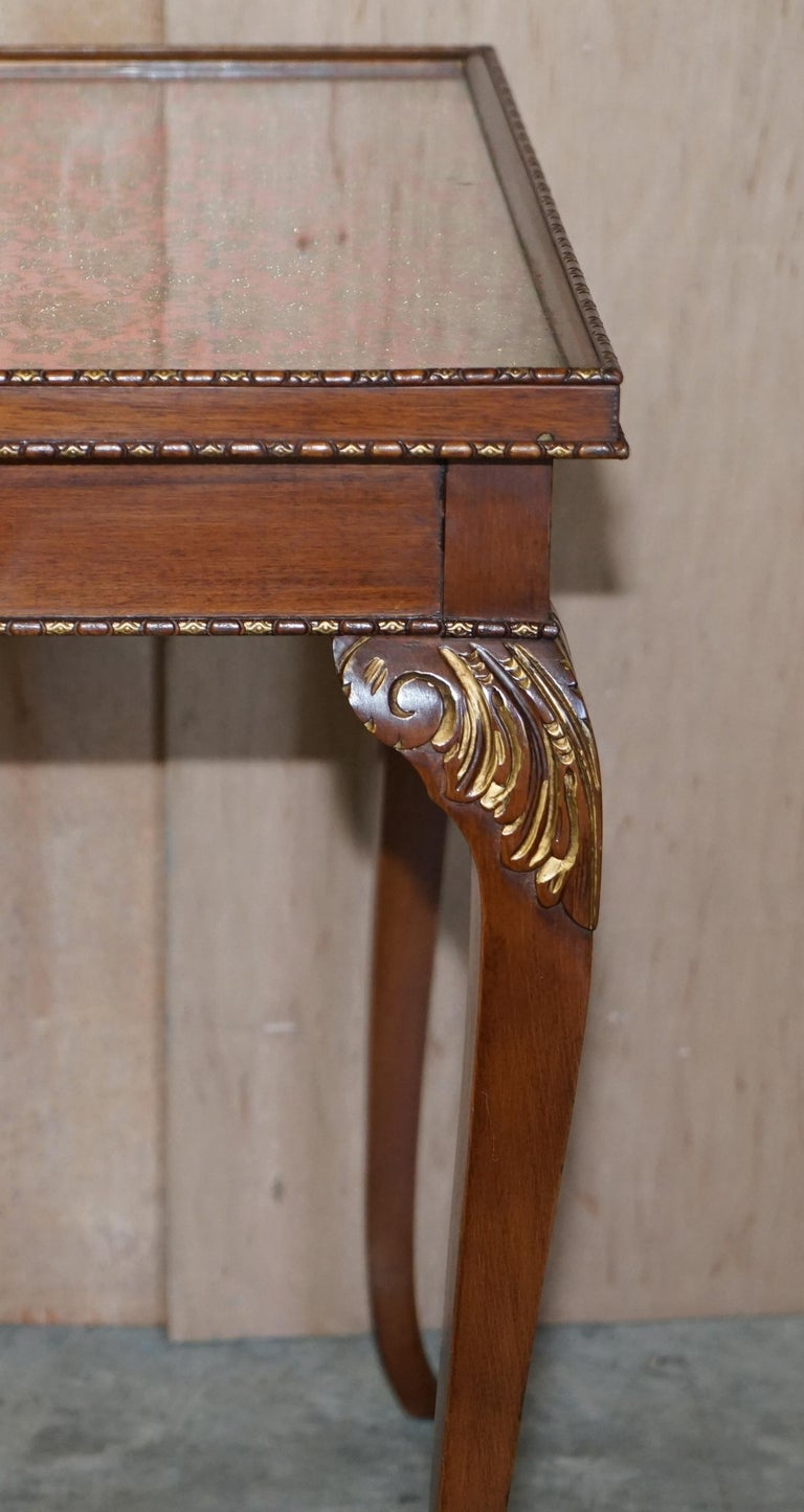 Lovely Vintage Writing Table Desk in Mahogany with Silk Embroidered Glass Top For Sale 11