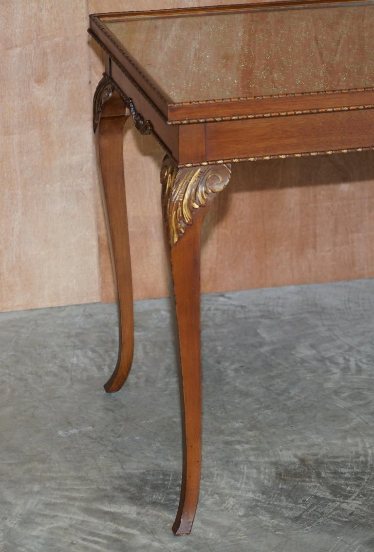 English Lovely Vintage Writing Table Desk in Mahogany with Silk Embroidered Glass Top For Sale