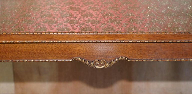 20th Century Lovely Vintage Writing Table Desk in Mahogany with Silk Embroidered Glass Top For Sale
