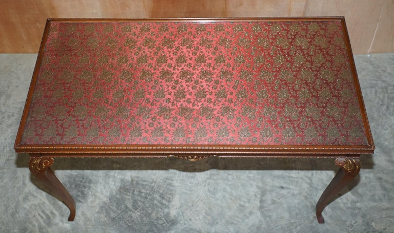 Lovely Vintage Writing Table Desk in Mahogany with Silk Embroidered Glass Top For Sale 1