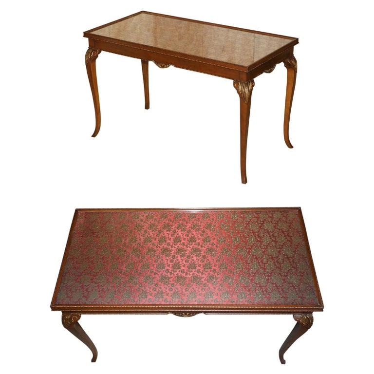 Lovely Vintage Writing Table Desk in Mahogany with Silk Embroidered Glass Top For Sale