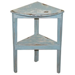 Lovely White Egg Shell Blue Painted Distressed Corner Plant Stand Bookshelf