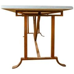 Lovely Wrought Iron Table with Stone Top, 20th Century