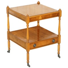 Lovely Yew Wood Side Table with Single Drawer Highly Decorative Lamp End Wine