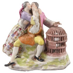 Lovers and Cage, Glazed Porcelain, After Meissen Models, circa 1800