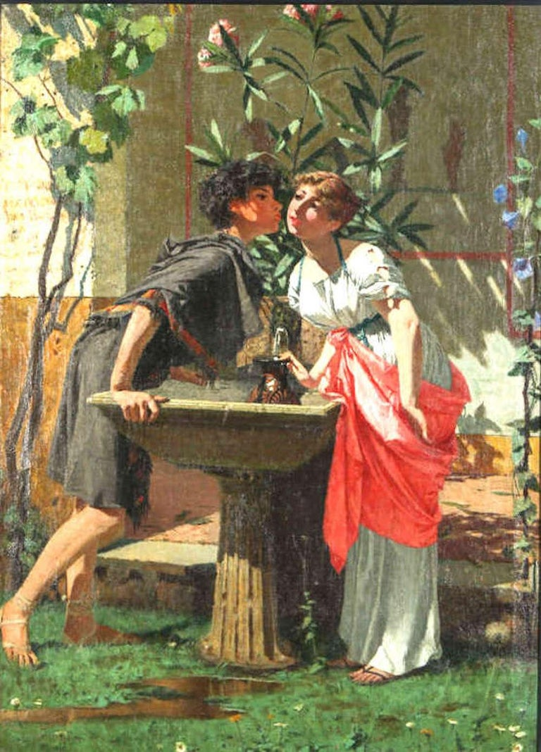 Lovers by a fountain, painting oil on canvas, Signed left sight.  Measures: cm 70 x 100 frame 118 x 145  Faustini Modesto. Brescia, 27 maggio 1839 - Roma, 23 marzo 1891. Born in Brescia in 1839, Modesto Faustini was orphaned at the age of six