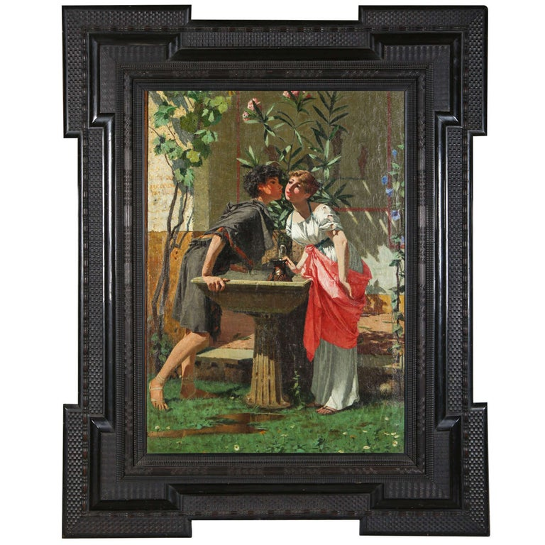 Lovers by a Fountain 19th Century Painting Oil on Canvas, Modesto Faustini, 1860 For Sale 4