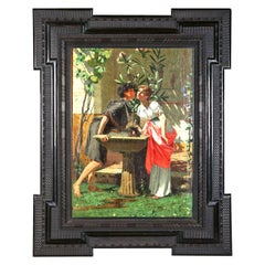 Lovers by a Fountain 19th Century Painting Oil on Canvas, Modesto Faustini, 1860