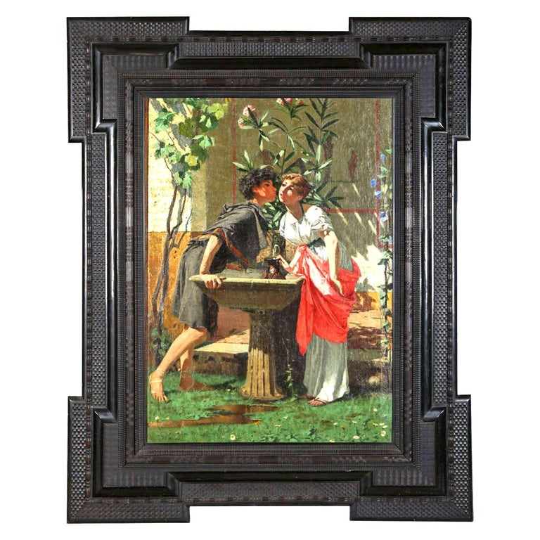 Lovers by a Fountain 19th Century Painting Oil on Canvas, Modesto Faustini, 1860 For Sale
