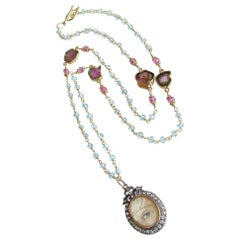 Lovers Eye Blue Topaz and Watermelon Tourmaline Necklace, Isabella II Necklace