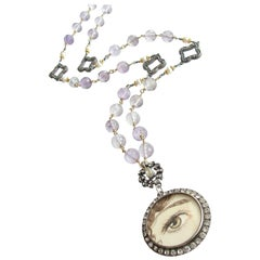 Lover's Eye Pink Amethyst Button Pearls Silver Paste Quatrefoils Necklace