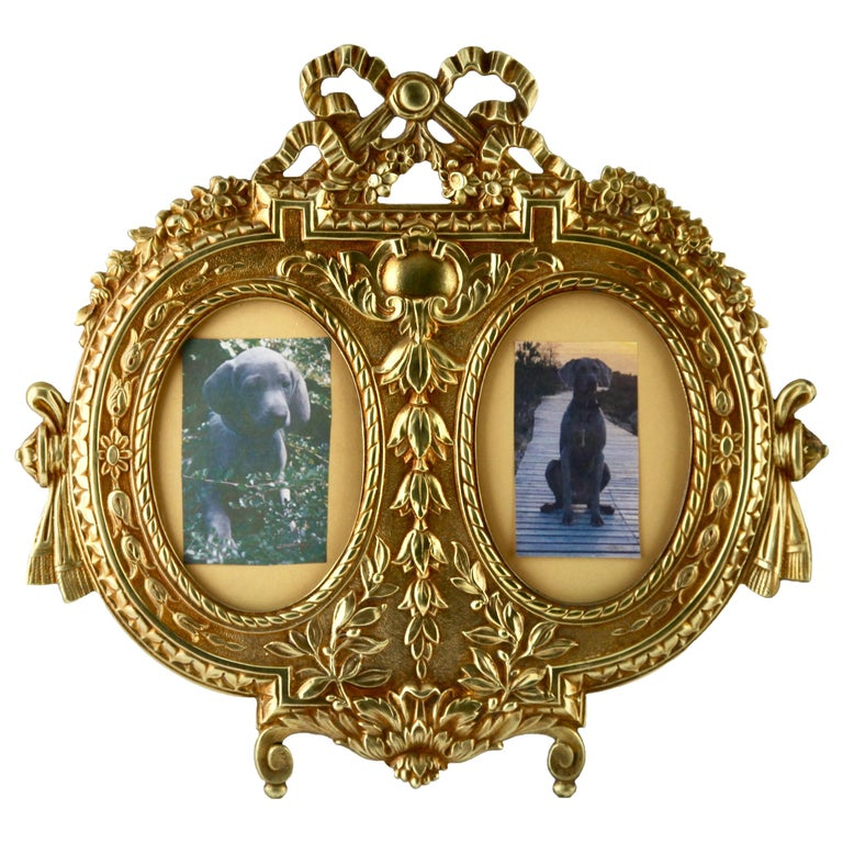 'Lover's Knot' Double Picture Frame, Polished Brass, Made by J.H. France, 1900s For Sale