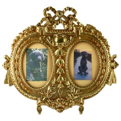 'Lover's Knot' Double Picture Frame, Polished Brass, Made by J.H. France, 1900s