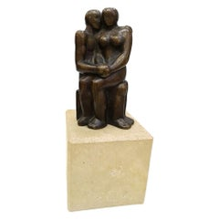"""Lovers"" Patina Bronz Sculpture on Marble Base, 1970s"