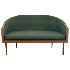 Loveseat with Walnut Banded Barrel Back, Hand-Turned Legs and Tufting