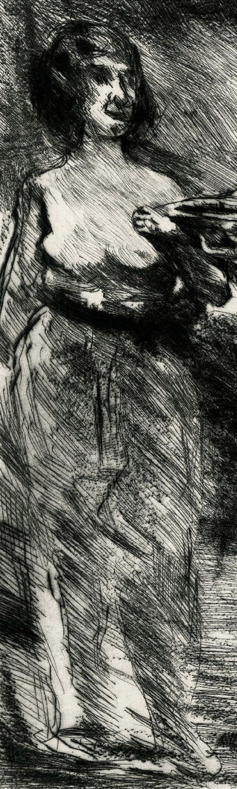 Drei Grazien (Three Graces) Etching and drypoint, 1920 Signed and titled in pencil (see photo) Total Edition 100: 30 on Japan and 70 on Butten paper as here Published by von Wohlgemuth & Liffner, Berlin The Three Graces were mythological goddesses –