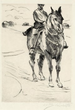 "Lovis Corinth, ""Rider II"", Etching by Lovis Corinth, 1916, German Impressionist"