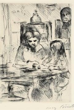 "Lovis Corinth ""Schoolwork, 1918"", Hand signed etching, German Impressionism"