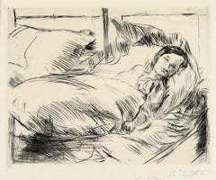 "Lovis Corinth ""The Sick Child, 1918""  Hand signed etching, German Impressionist"
