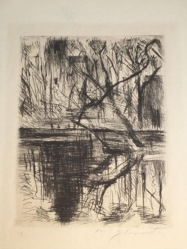 Partie aus dem Tiergarten - Beige Landscape Print by Lovis Corinth