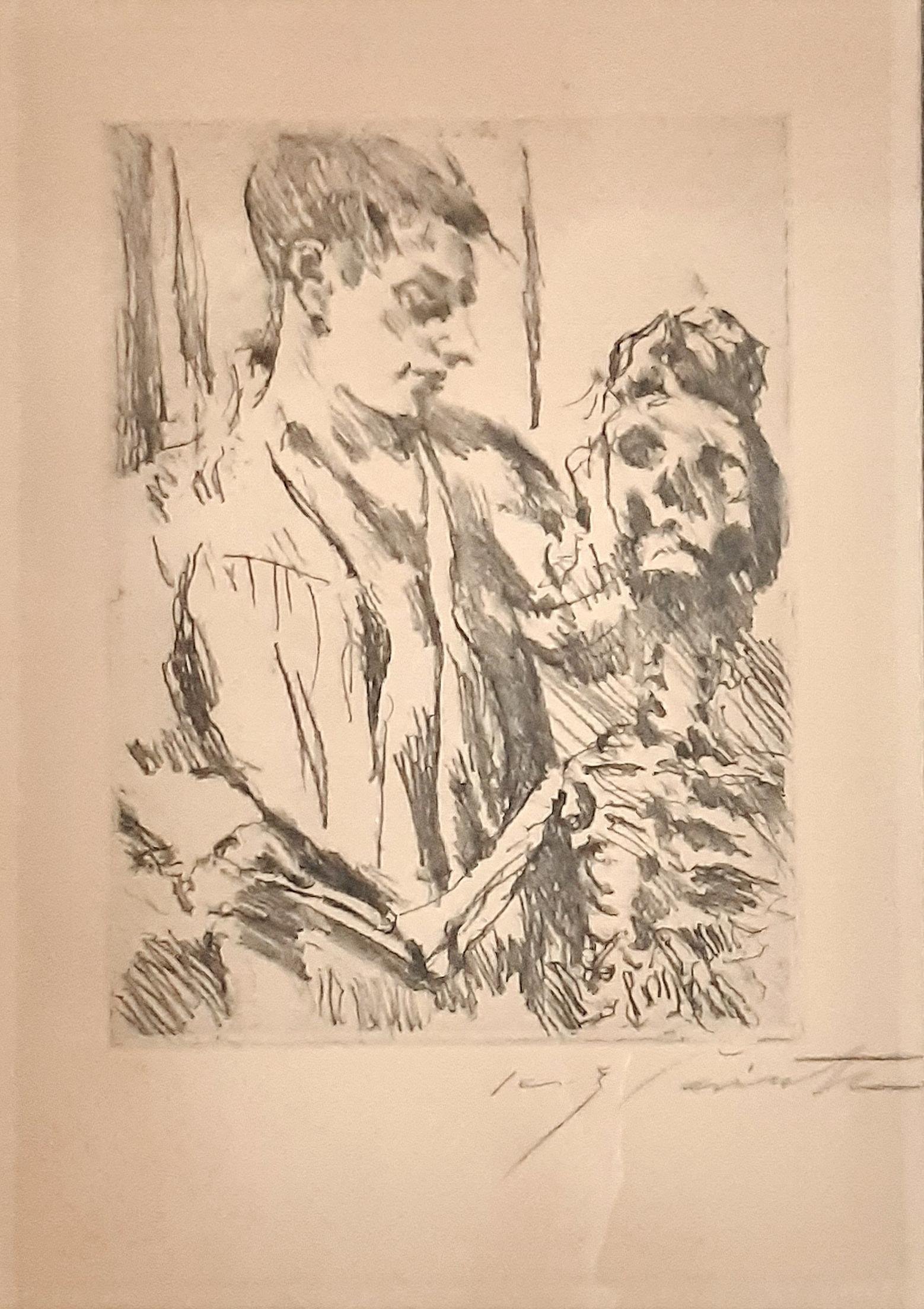 Tod und Jungling - Original Lithograph by L. Corinth - 1921