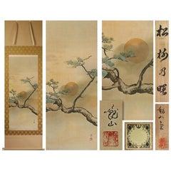 Lovley Nihonga Scene Meiji Period Scroll Apan Artist Kanzan Shimomura