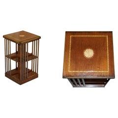 Lovley Sheraton Revival Hardwood & Satinwood Revolving Bookcase Side End Table