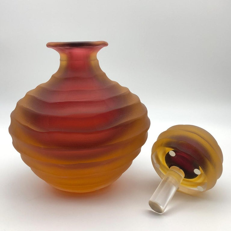 Modern Low Amber Bottle by Achille D'Este and Renzo Vianello For Sale