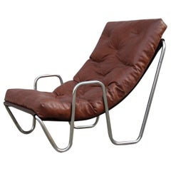 Low Armchair Minimal Italian Design Cromed Metal Faux Leather, 1970s