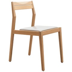 Low Back Dining Chair in White Oak with Gray Leather