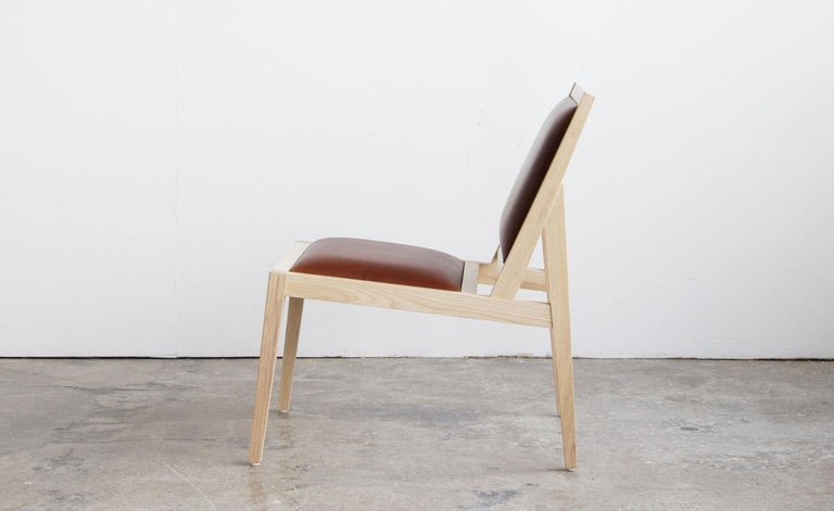 Modern Low Back Lounger in Natural Ash with Brown Leather For Sale