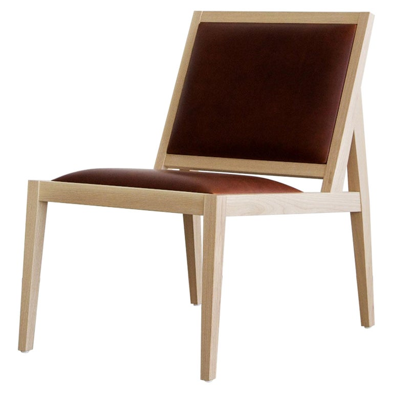 Low Back Lounger in Natural Ash with Brown Leather For Sale