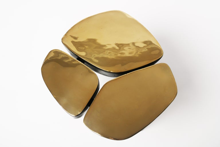 Low Bronze Jasper Side Table in Gold Bronze and Dark Bronze by Elan Atelier For Sale 4