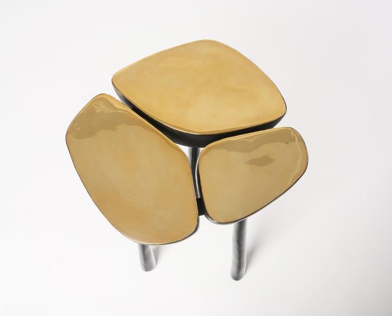 Low Bronze Jasper Side Table in Gold Bronze and Dark Bronze by Elan Atelier For Sale 1
