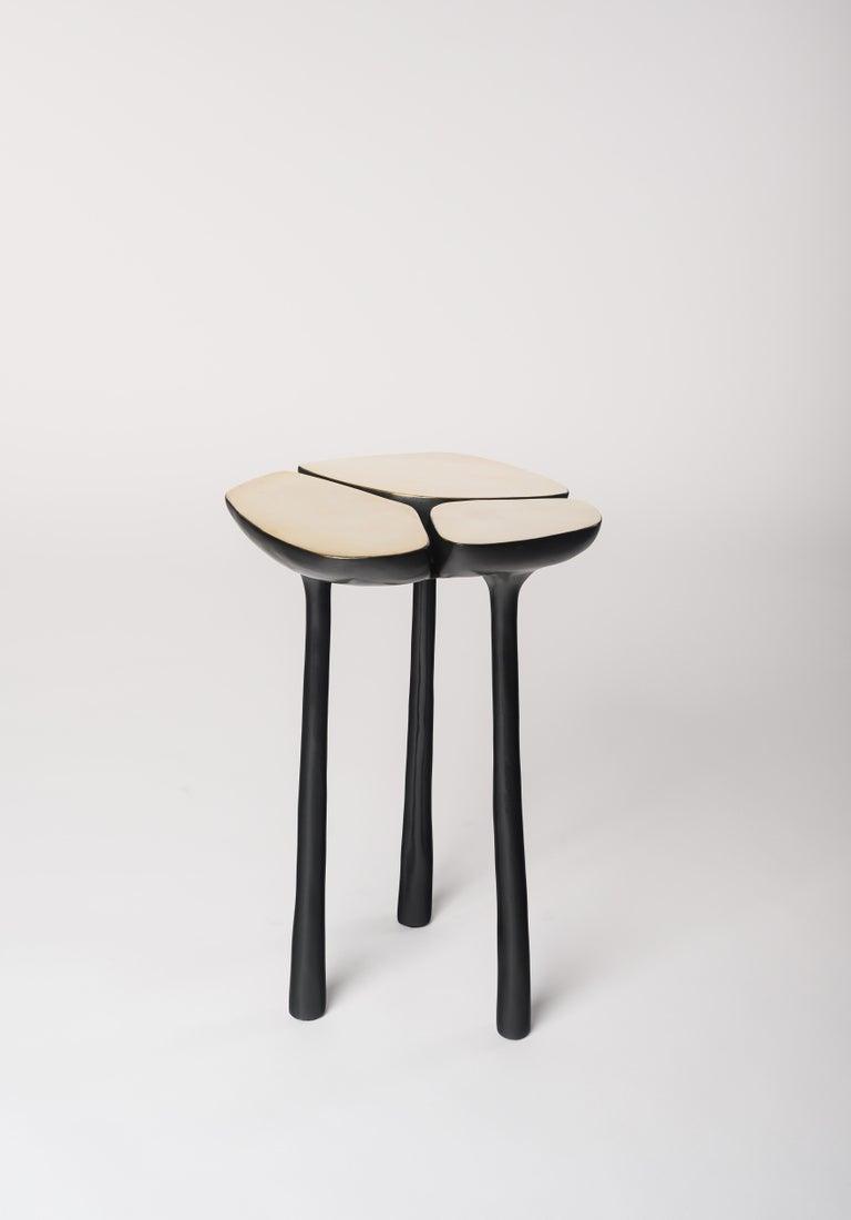 Low Bronze Jasper Side Table in Gold Bronze and Dark Bronze by Elan Atelier For Sale 2