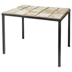 Low Brown White Ceramic Coffee Table by La Borne circa 1960 20th Century Design