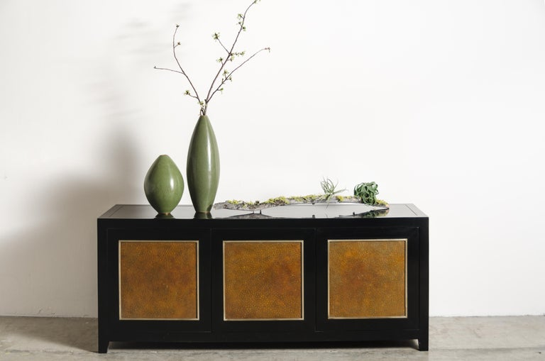 Low Cabinet with Amber Shargreen Cloisonné Panel by Robert Kuo, Limited Edition In New Condition For Sale In West Hollywood, CA