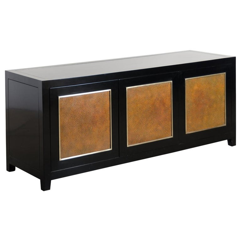 Low Cabinet with Amber Shargreen Cloisonné Panel by Robert Kuo, Limited Edition For Sale