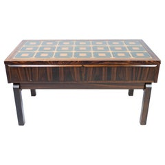 Low Chest in Rosewood and Tiles, of Danish Design from the 1960s