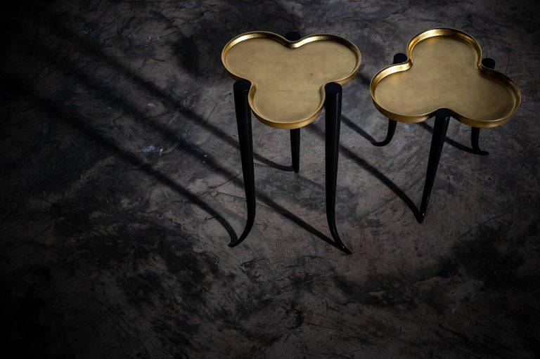 Low Chime Side Table in Bronze and Silver or Gold Leaf Lacquer by Elan Atelier For Sale 7