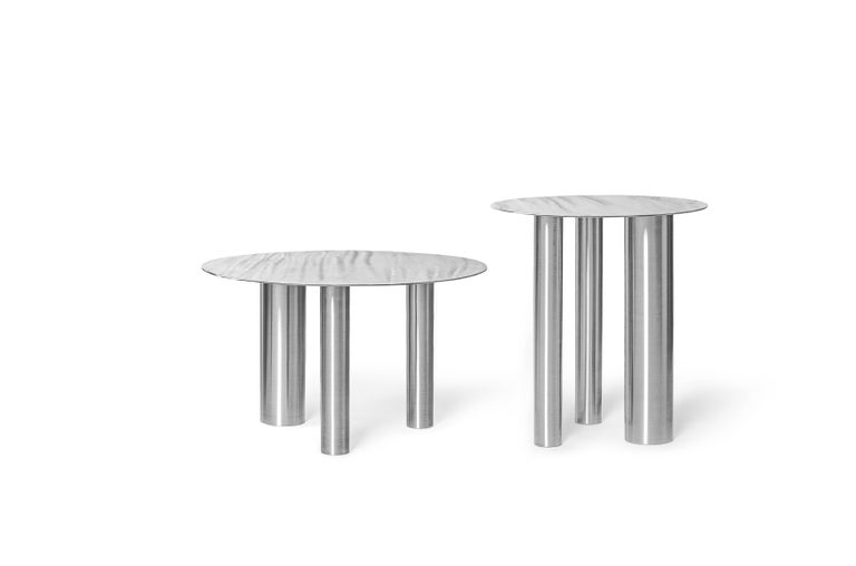 Modern Low Coffee Table Brandt CS1 made of stainless steel by Noom For Sale
