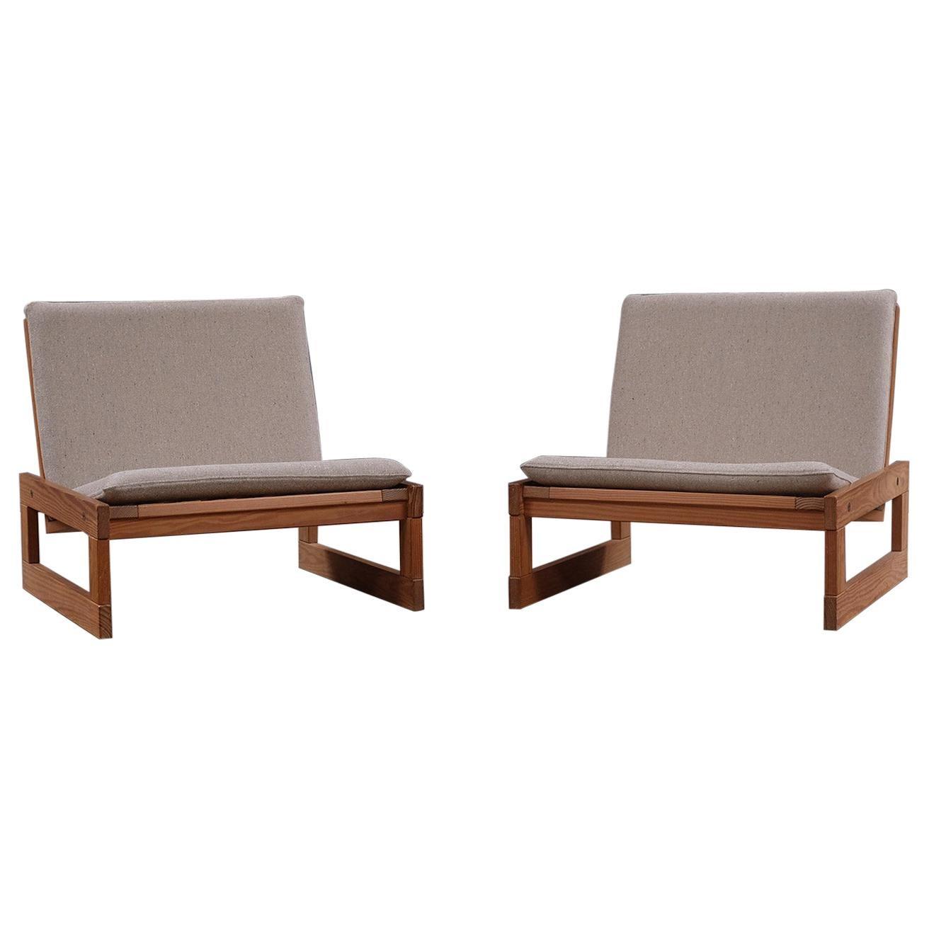 Scandinavian Modern Low Danish Oregon Pine Lounge Chairs, Mid 20th Century