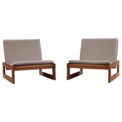 Scandinavian Modern Low Danish Oregon Pine Lounge Chairs, Mid 20th Century